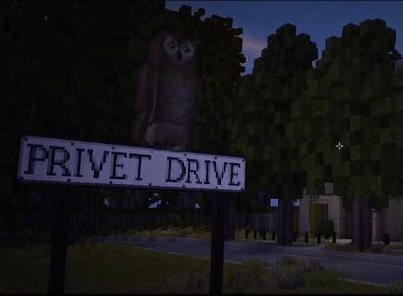 An image of the street sign for Privet Drive in our Harry Potter Minecraft series