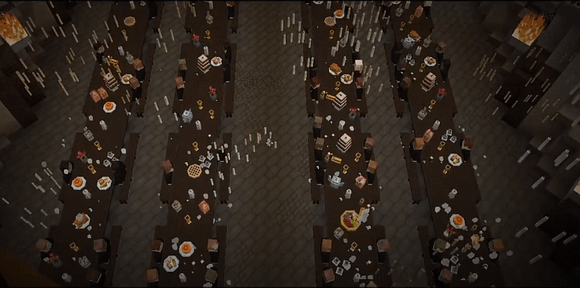 The great hall with food on the tables from the Minecraft Harry Potter series.